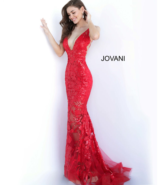 Jovani * EX * 60283 Robe ajustée à appliques florales scintillantes