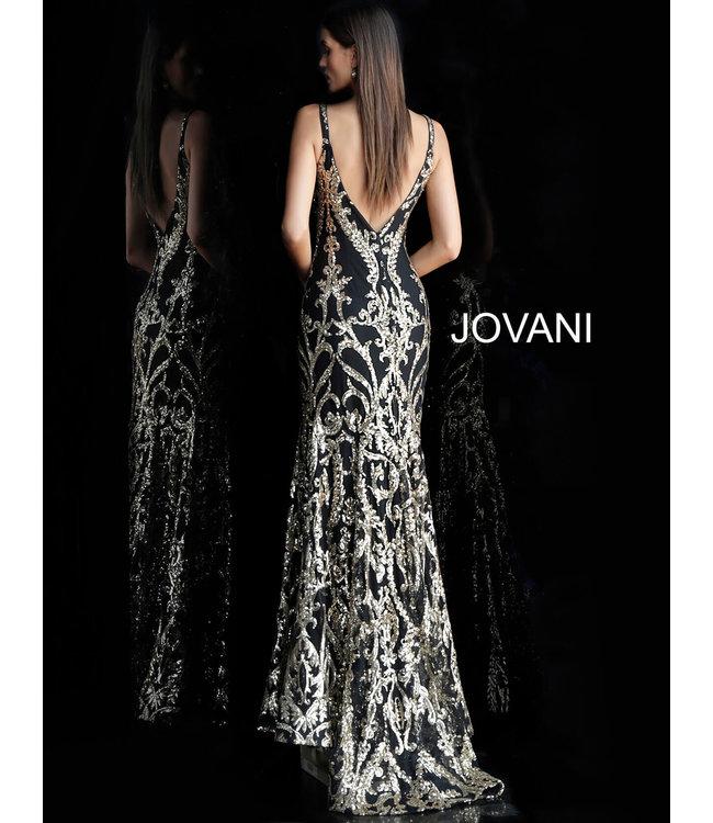 Jovani 63350B Robe ajustée à motif doré