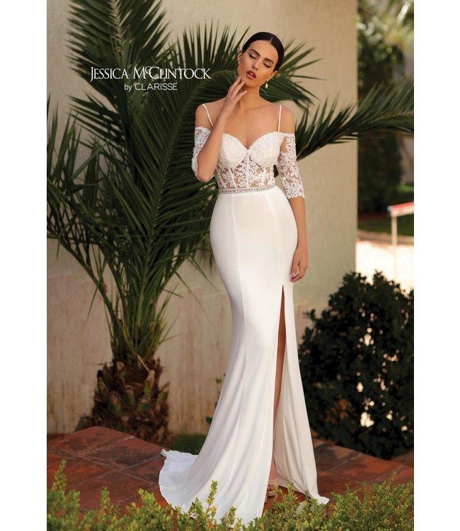 Clarisse 700111 Robe blanche ajustée