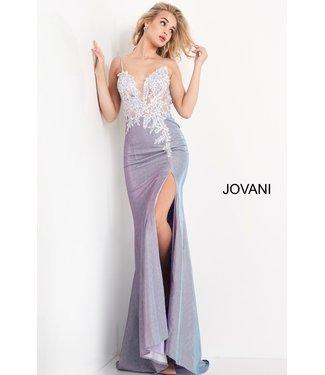 Jovani 06454 Robe ajustée brillante avec dentelle