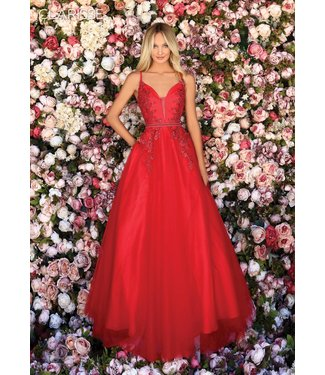 Clarisse 800307 Robe rouge tulle et broderie