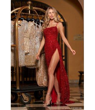 Sherri Hill 54798 Red À paillettes avec fente