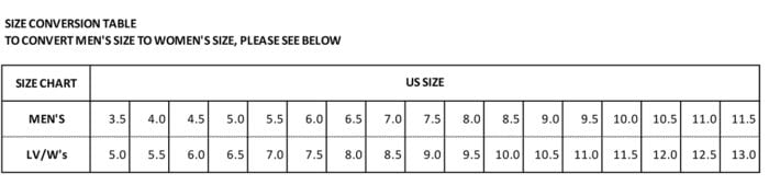 Unparallel Shoes Size Chart