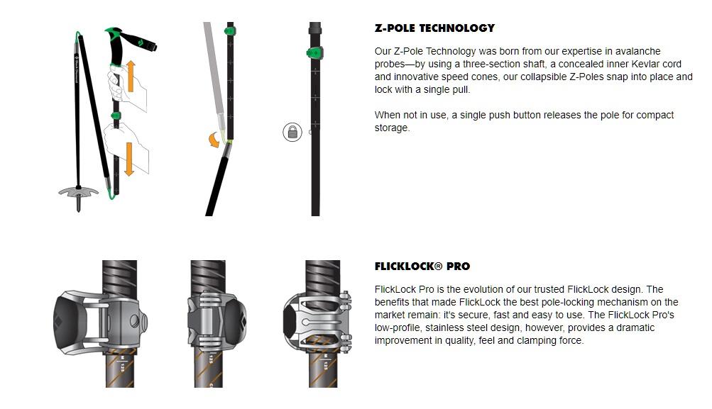 Black Diamond Flicklock and z-pole technology