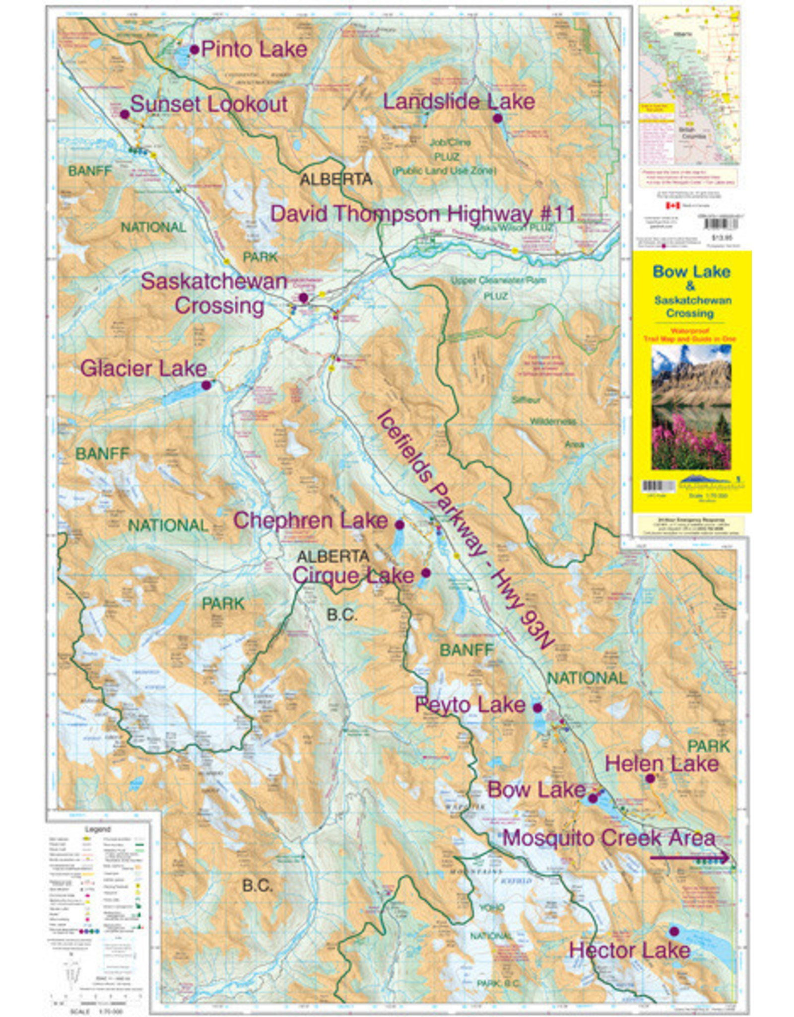 Gemtrek map Bow Lake &  Saskatchewan Crossing