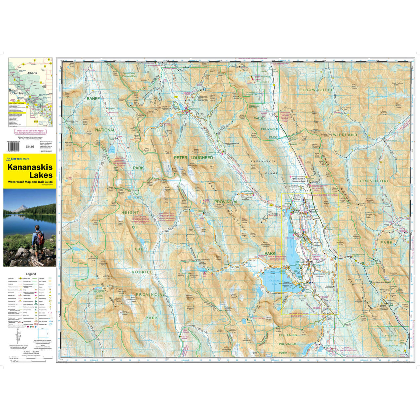 Carte GemTrek Kananaskis Lakes