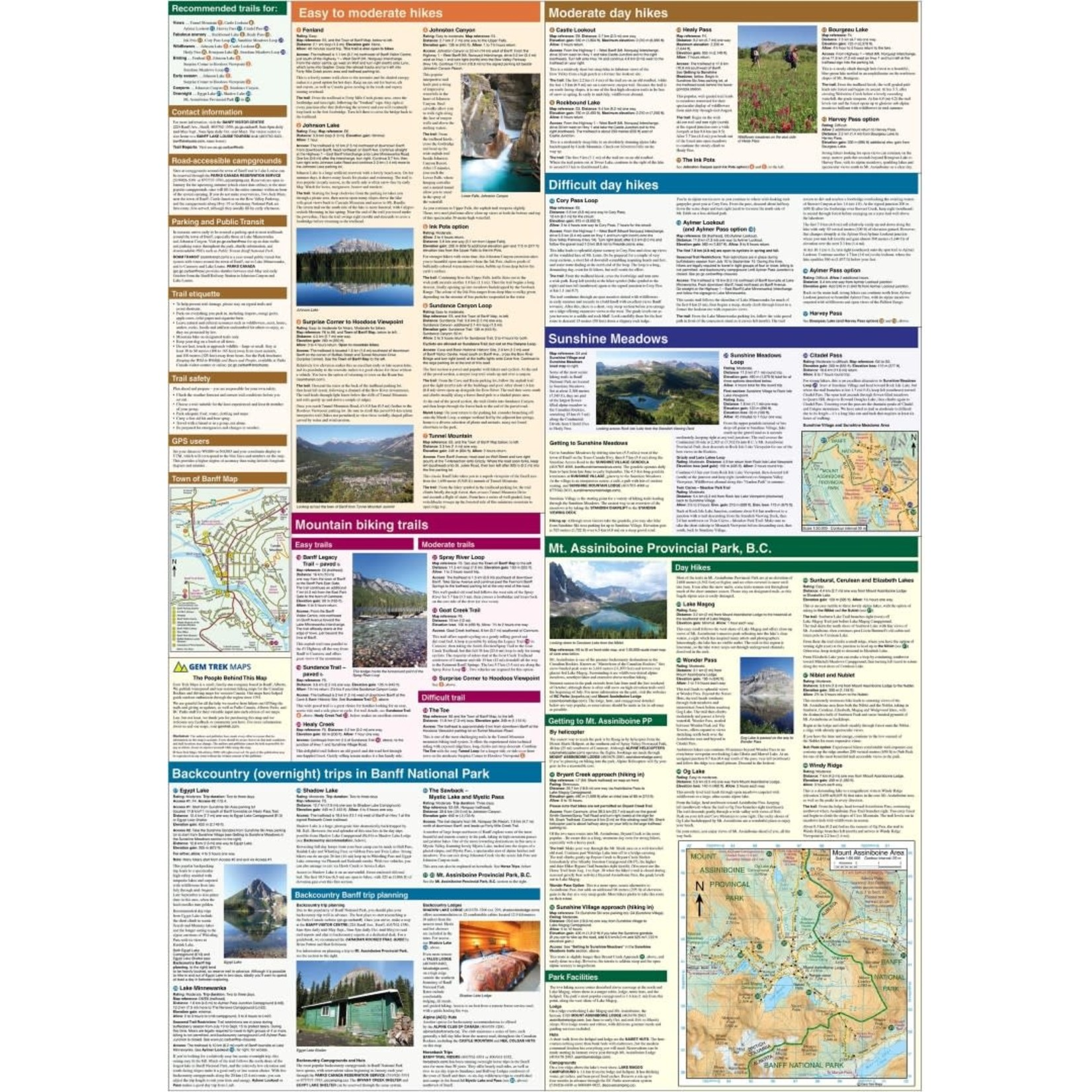 Gemtrek map Banff &  Mount Assiniboine