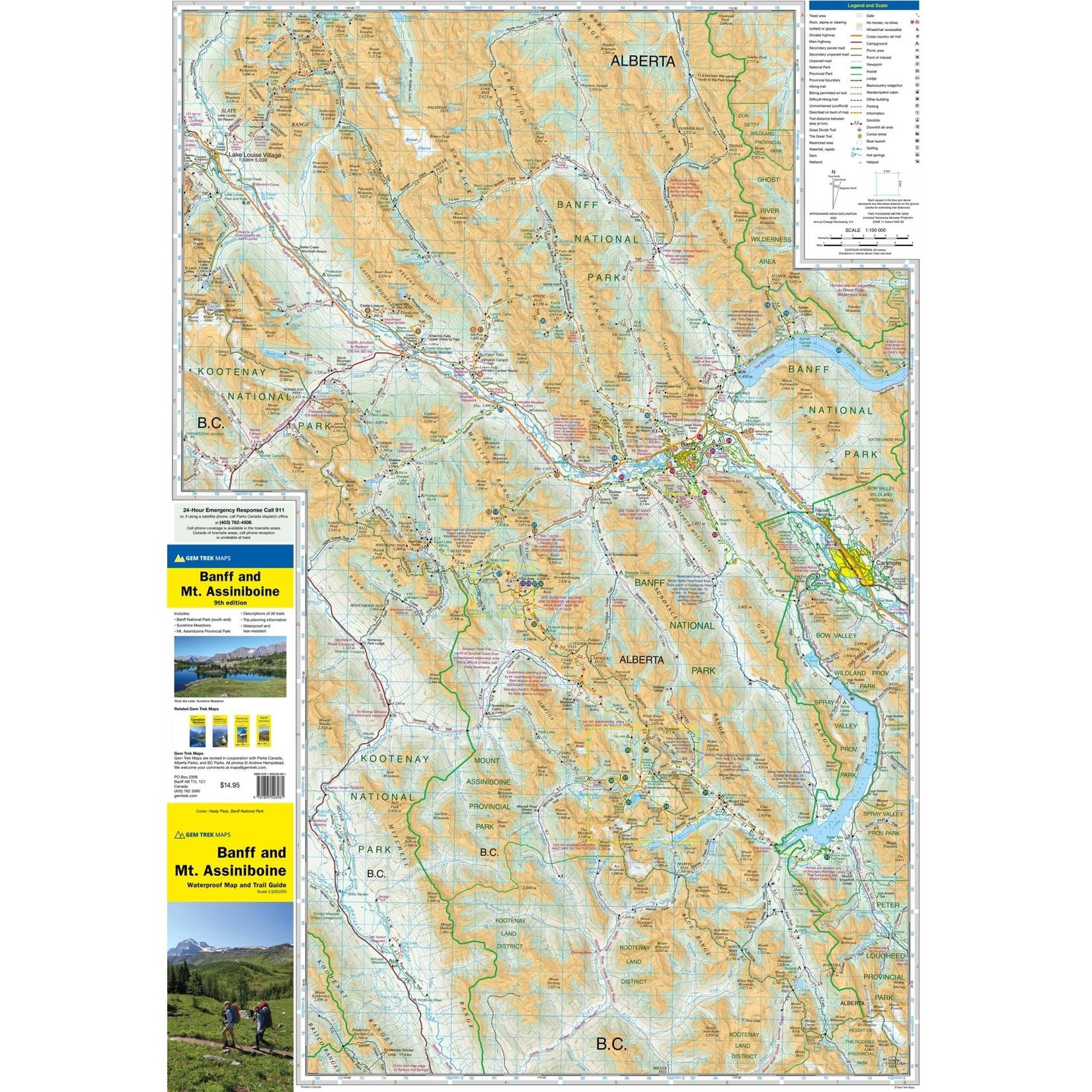 Carte Gemtrek Banff & Mount Assiniboine