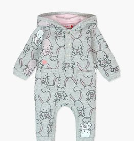 Boboli Fleece Bunny Playsuit- Pink