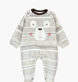 Boboli Boboli Striped Brown Bear Play suit-velour