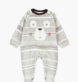 Boboli Striped Brown Bear Play suit-velour