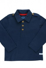 RuffleButts Navy Long sleeve polo