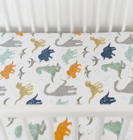 Little Unicorn Little Unicorn Cotton Percale Crib Sheet- Dino Friends