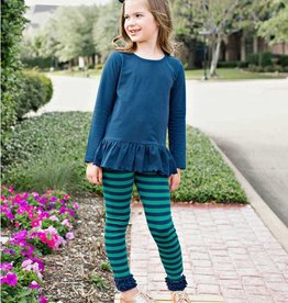 RuggedButts Navy and Emerald Striped Ruffle Leggings