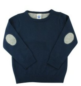 RuffleButts Rufflebutts Boys Navy Sweater W/Elbow Patches