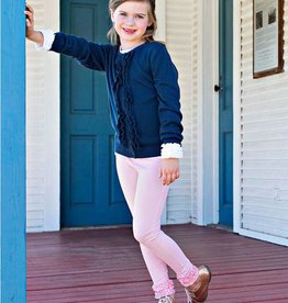 RuffleButts/RuggedButts Navy Ruffled Cardigan