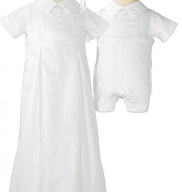 Little Things Mean A lot Boys Baptism Cotton White Coverall w/bonnet