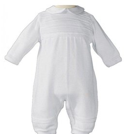 Little Things Mean A lot Boys Baptism Knit Coverall- 100% cotton