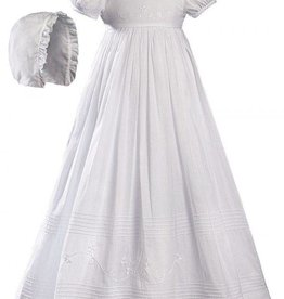Little Things Mean A lot Girls 32″ White Cotton Short Sleeve Christening Baptism Gown with Floral Shamrock Embroidery