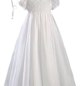 Girls White 32″ Hand Smocked Polycotton Batiste Christening Baptism Gown