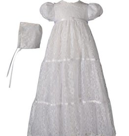Little Things Mean A lot Girls 29″ Layered All Over Lace Christening Gown