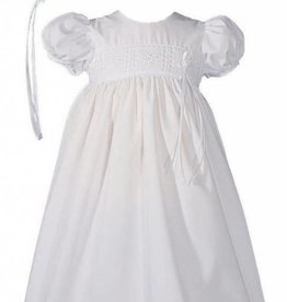 Little Things Mean A lot Girls 24″ Poly Cotton Christening Baptism Gown with Rose Lace and Bonnet