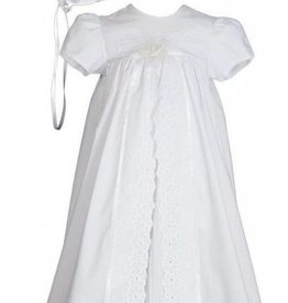 Little Things Mean A lot Girls 25″ Split Panel Cotton Dress Christening Gown Baptism Gown