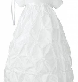 Little Things Mean A lot Girls White Polyester Taffeta Christening Baptism Gown with Rosettes and a Bonnet
