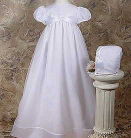 Little Things Mean A lot Girls 31″ Poly Cotton Organza Christening Gown with Bonnet and Slip