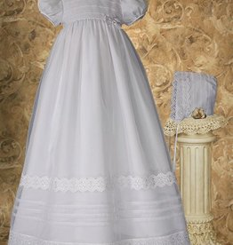 Little Things Mean A lot Girls 34″ Poly Cotton Organza Christening Gown with French Lace and Pin Tucking