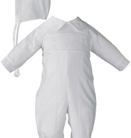 Little Things Mean A lot Boys Long Sleeve Cotton Hand Smocked Pin Tucked Christening Baptism Coverall