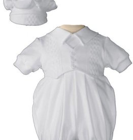 Little Things Mean A lot Boys White Short Sleeve Baptism Set with Hat