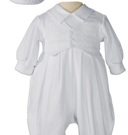 Little Things Mean A lot Boys Long Sleeve White Celebration Christening Baptism Set with Hat