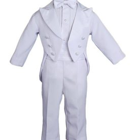 Little Things Mean A lot Baby Boys Formal White Poly Cotton 5 Piece Classic Tux Set with Tail