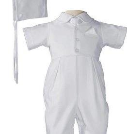 Little Things Mean A lot Boys Handsome White Vested Gabardine Short Sleeve Christening Baptism Coverall