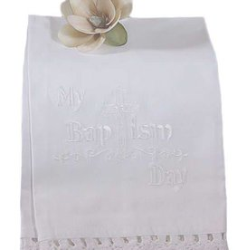 Little Things Mean A lot 100% White Cotton Christening Towel Baptism Towel with Lace