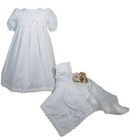 Little Things Mean A lot Girls Preemie Dress Christening Gown Baptism Set with Lace Hem