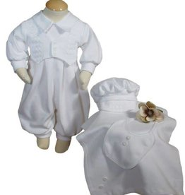 Little Things Mean A lot Boys White Long Sleeve Cotton Interlock Preemie Christening 4 Piece Set