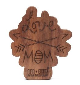 Finn & Emma Finn & Emma Wood Rattle Teether- Love Mom Arrows