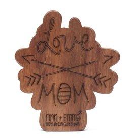 Finn & Emma Wood Rattle Teether- Love Mom Arrows