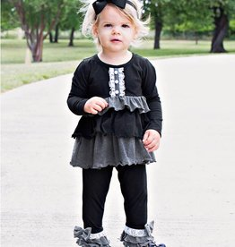 Black Contrast Legging and Top Set 4T