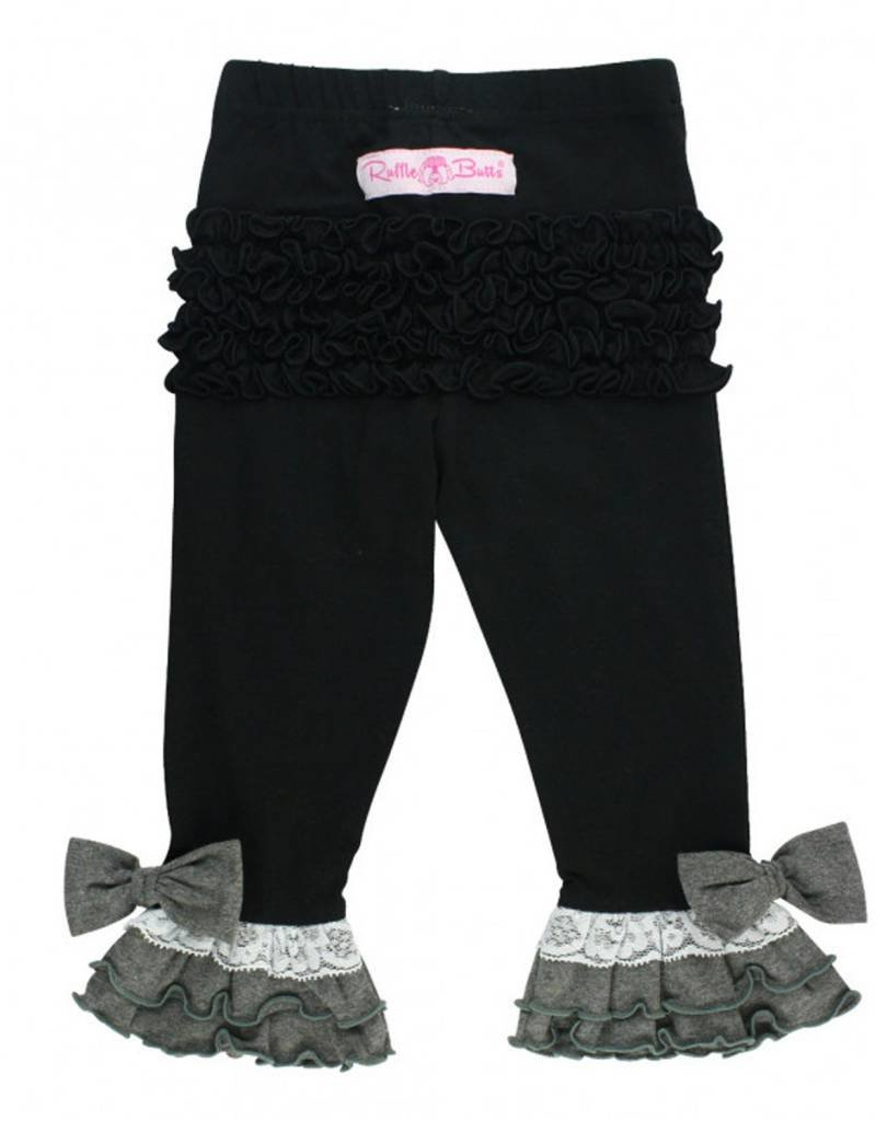 Rufflebutts Black Contrast Legging and Top Set 4T
