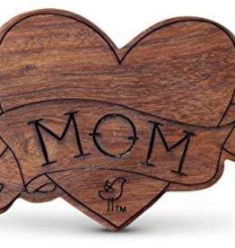 Finn & Emma Wood Rattle Teether- Mom Tattoo