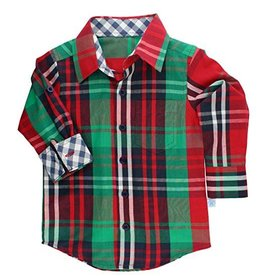 RuffleButts Holiday Plaid Button Down