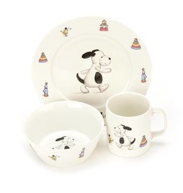 Jellycat Jellycat Bashful Puppy Bowl, Cup & Plate