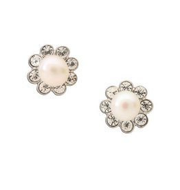 Sterling Silver Pearl Button Earrings- White