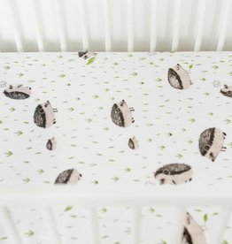 Cotton Muslin Crib Sheet- HedgeHog