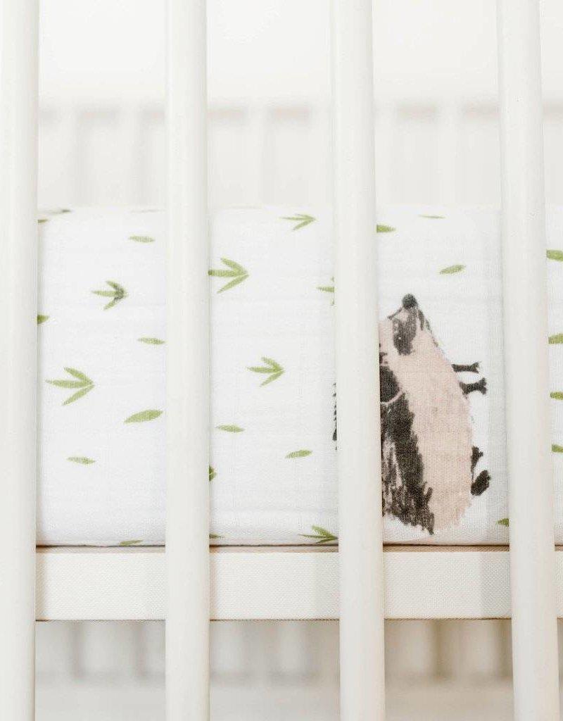 Cotton Muslin Crib Sheet- HedgeHog