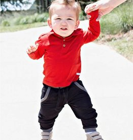 RuffleButts Rufflebutts Red Long Sleeve Polo