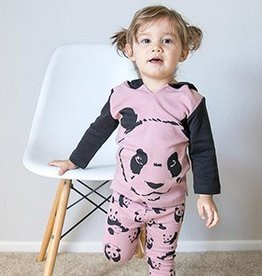 Organic Panda Hoodie and Pant Lounge Set- Muave- 9-12m